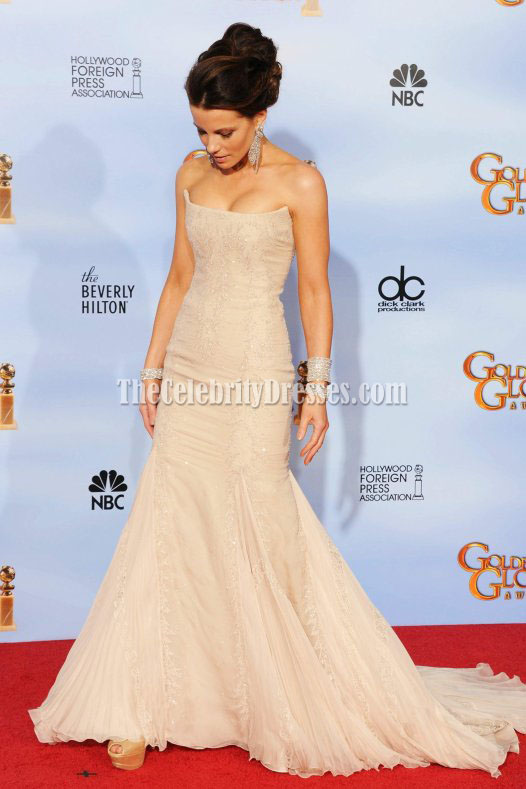 Kate Beckinsale Strapless Mermaid Prom Gown Formal Dress 2012 Golden ...