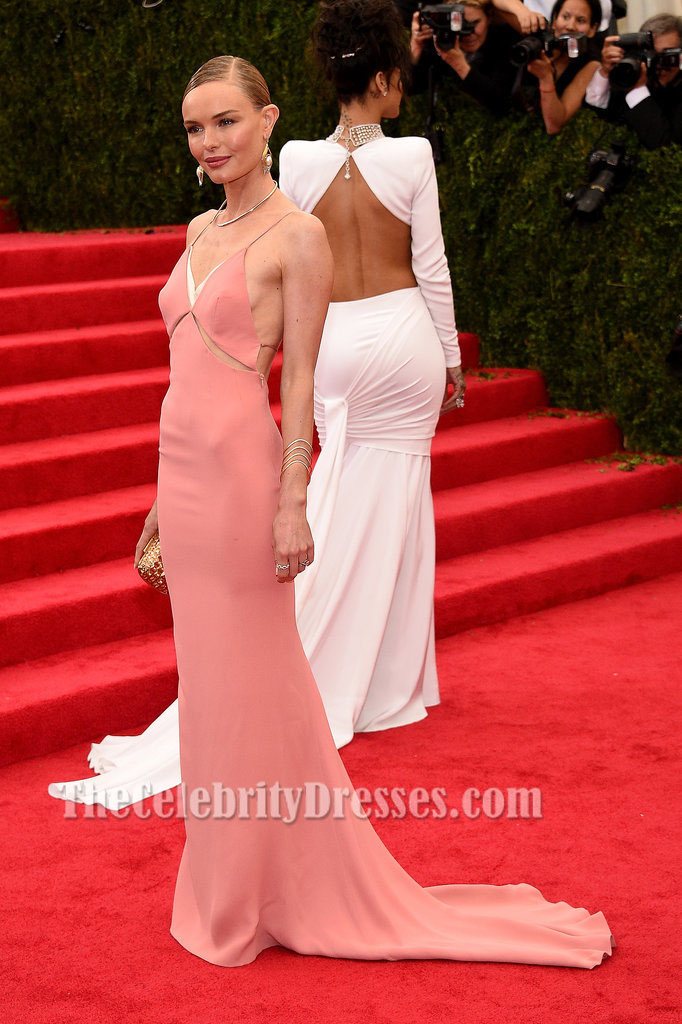 Kate Bosworth Pink Backless Prom Dress 2014 Met Gala Red Carpet ...