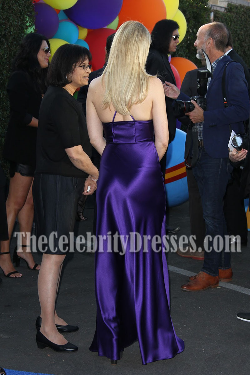 7058327e755c Kate Hudson Purple Spaghetti Strap Slip Evening Prom Gown Kaleidoscope Ball  2016 - TheCelebrityDresses