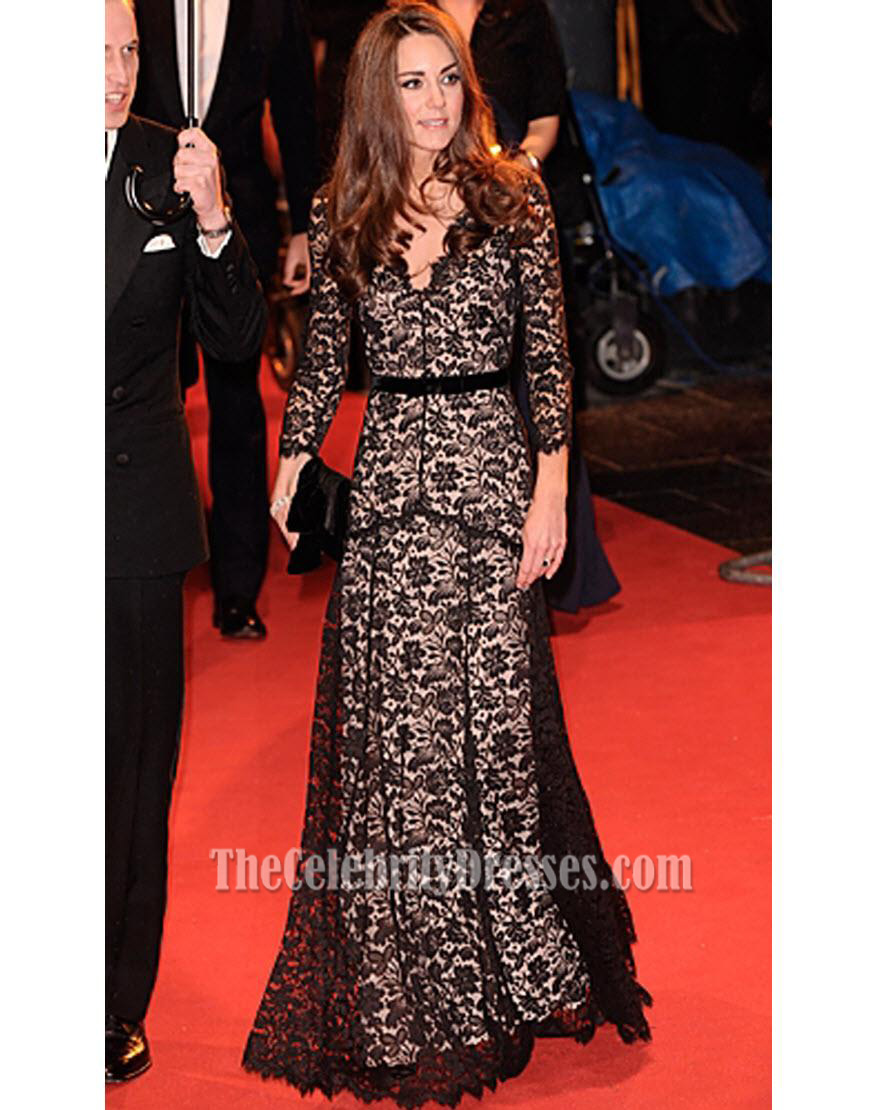 Kate Middleton Black Lace Dress War Horse Premiere Formal Gown ...