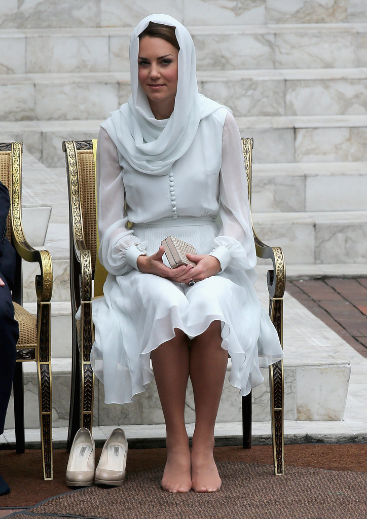Kate Middleton Knee Length Long Sleeve Chiffon Dress Visiting ...