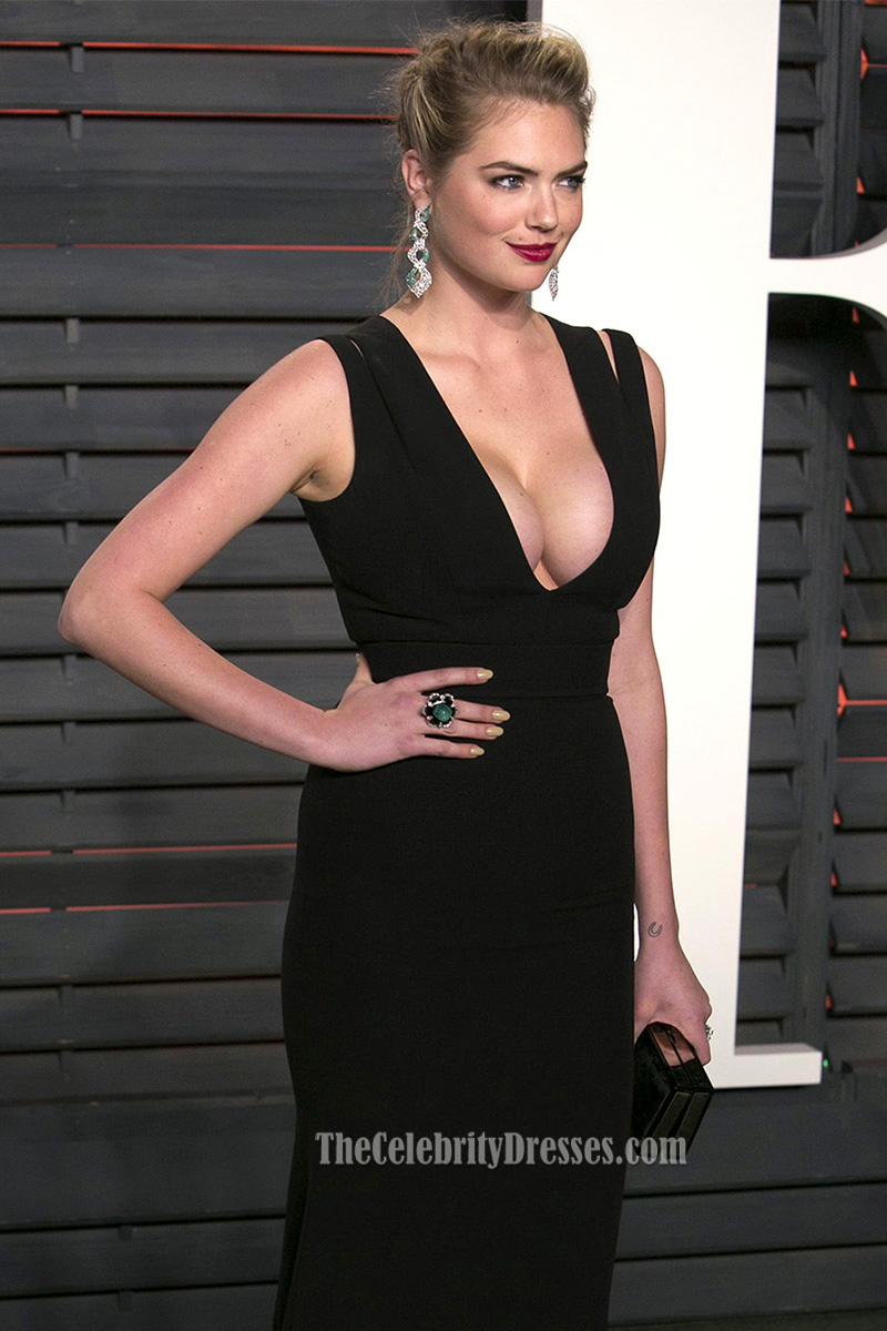 Kate Upton Vanity Fair Oscar Party 2016 schwarz sheath Abend ...