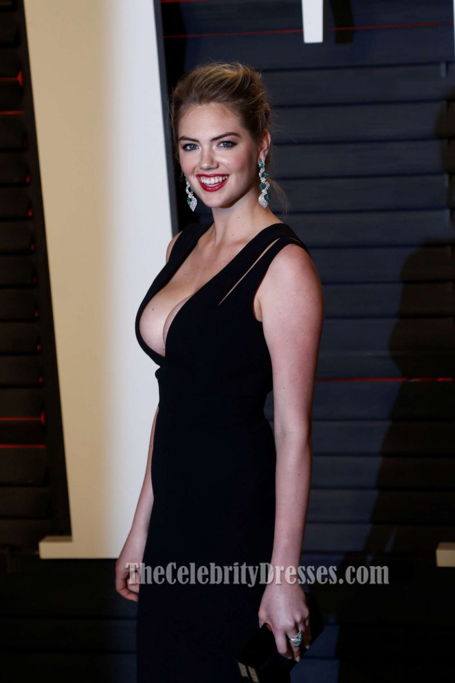 Kate Upton Vanity Fair Oscar Party 2016 Black Sheath Evening Prom ...