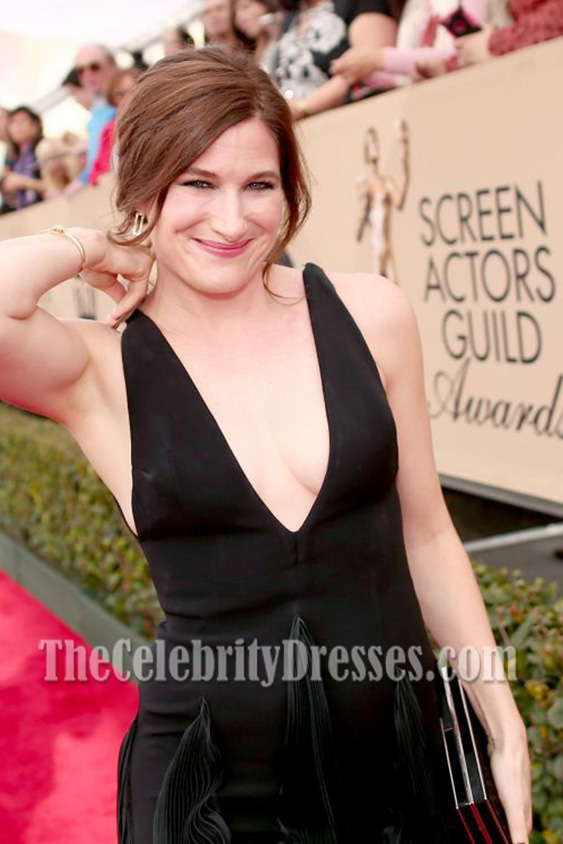 Kathryn Hahn Black Deep V Neck Ruffle Evening Prom Gown