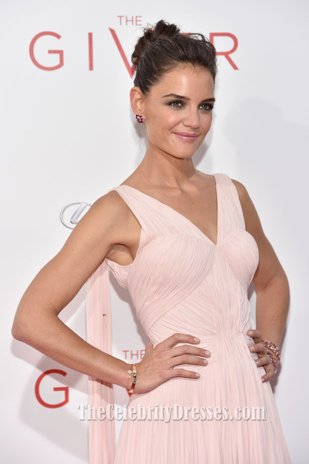 37622f00f36 Katie Holmes Pale Pink Cocktail Dress  The Giver  New York Premiere -  TheCelebrityDresses