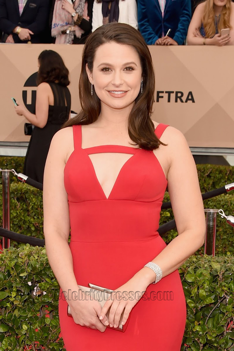 Katie Lowes Red Evening Dress 22nd Annual Screen Actors Guild ...