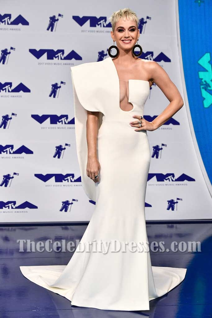 Katy Perry Ivory One-shoulder Structured Evening Prom Dress 2017 MTV ...