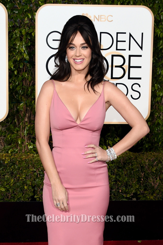 Katy Perry Pink Evening Gown Golden Globes Red Carpet