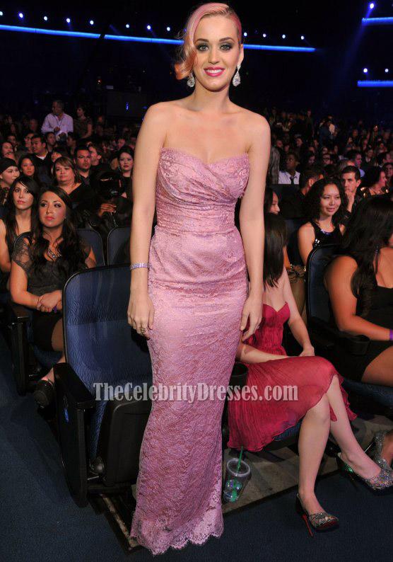 Katy Perry Rosa trägerloses Spitze-Abschlussball-Kleid-Abend-Kleid ...
