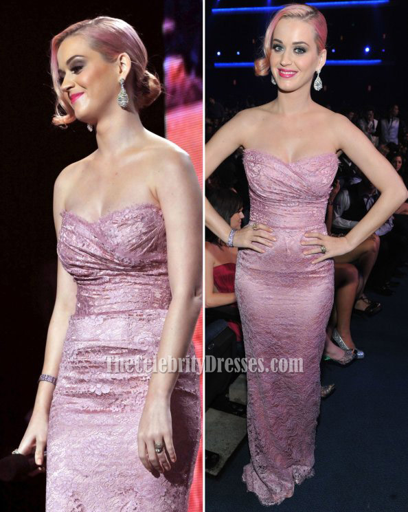 Katy Perry Pink Strapless Lace Prom Dress Evening Gown 2012 Grammy ...