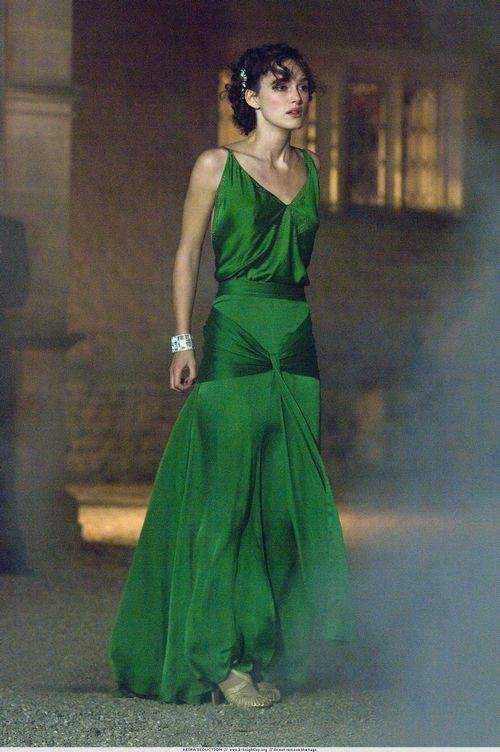 Keira Knightley Green Vintage Evening