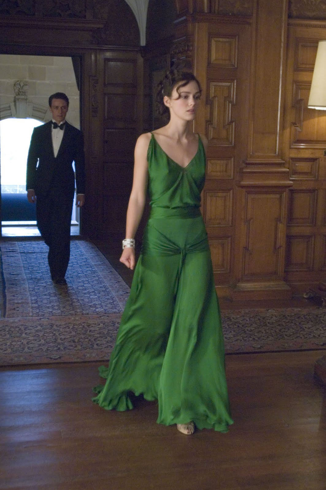 Keira Knightley Green Vintage Evening Dress In Movie Atonement For Sale Ts0002