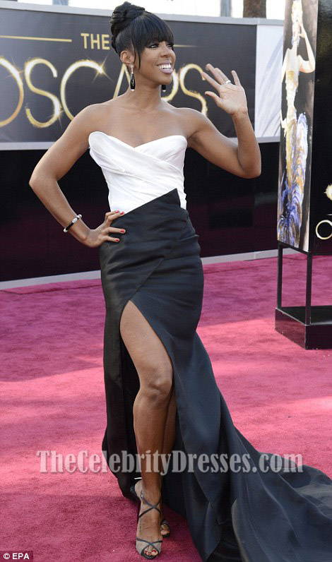 Kelly Rowland White And Black Strapless Formal Dress 2013 Oscar ...