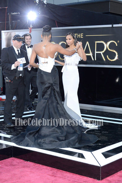 Kelly Rowland White And Black Strapless Formal Dress 2013 Oscar Red