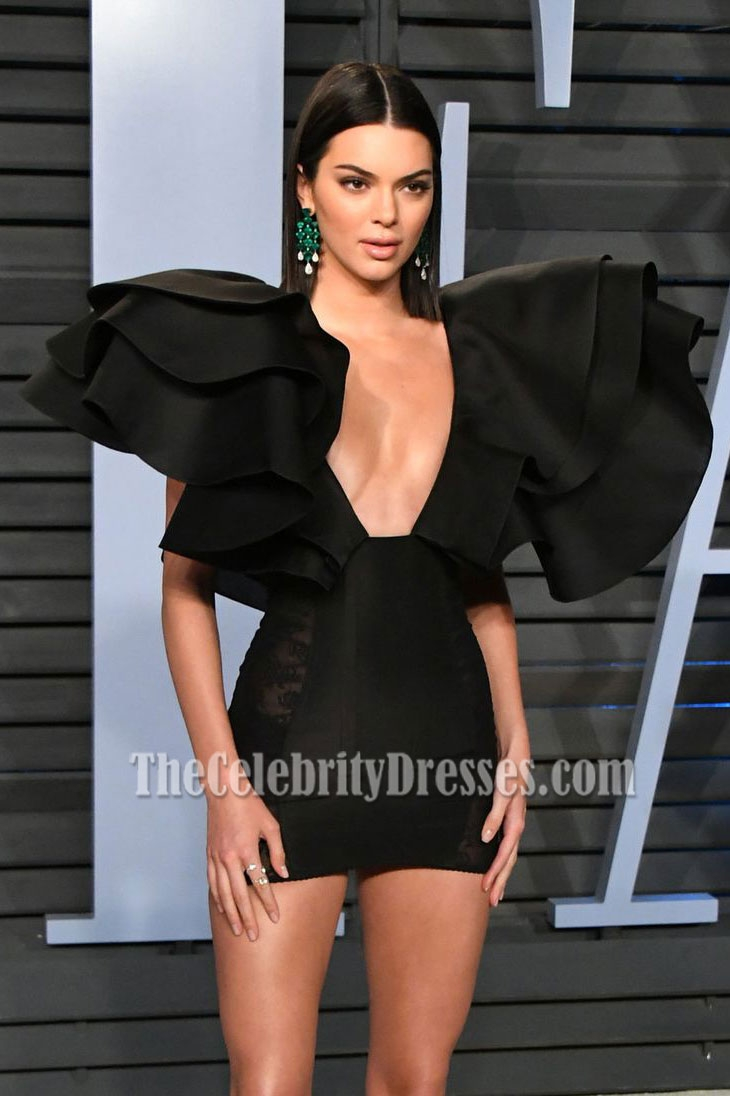 85ad99b4a114 Kendall Jenner Black Deep V-neck Bodycon Short Mini Dress 2018 Vanity Fair  Oscars after party - TheCelebrityDresses