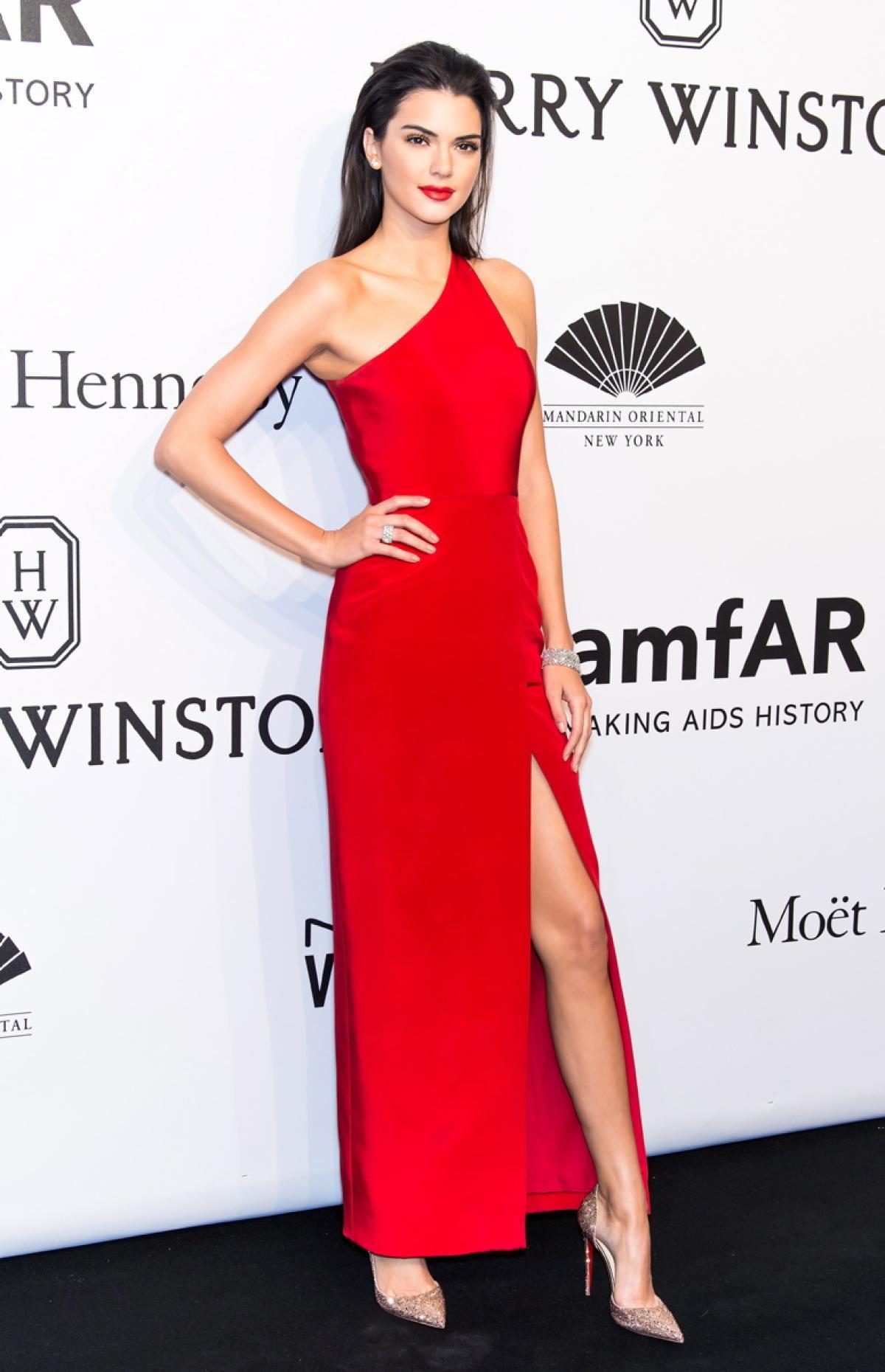 Kendall Jenner Red One Shoulder Evening Dress 2015 amfAR New York ...