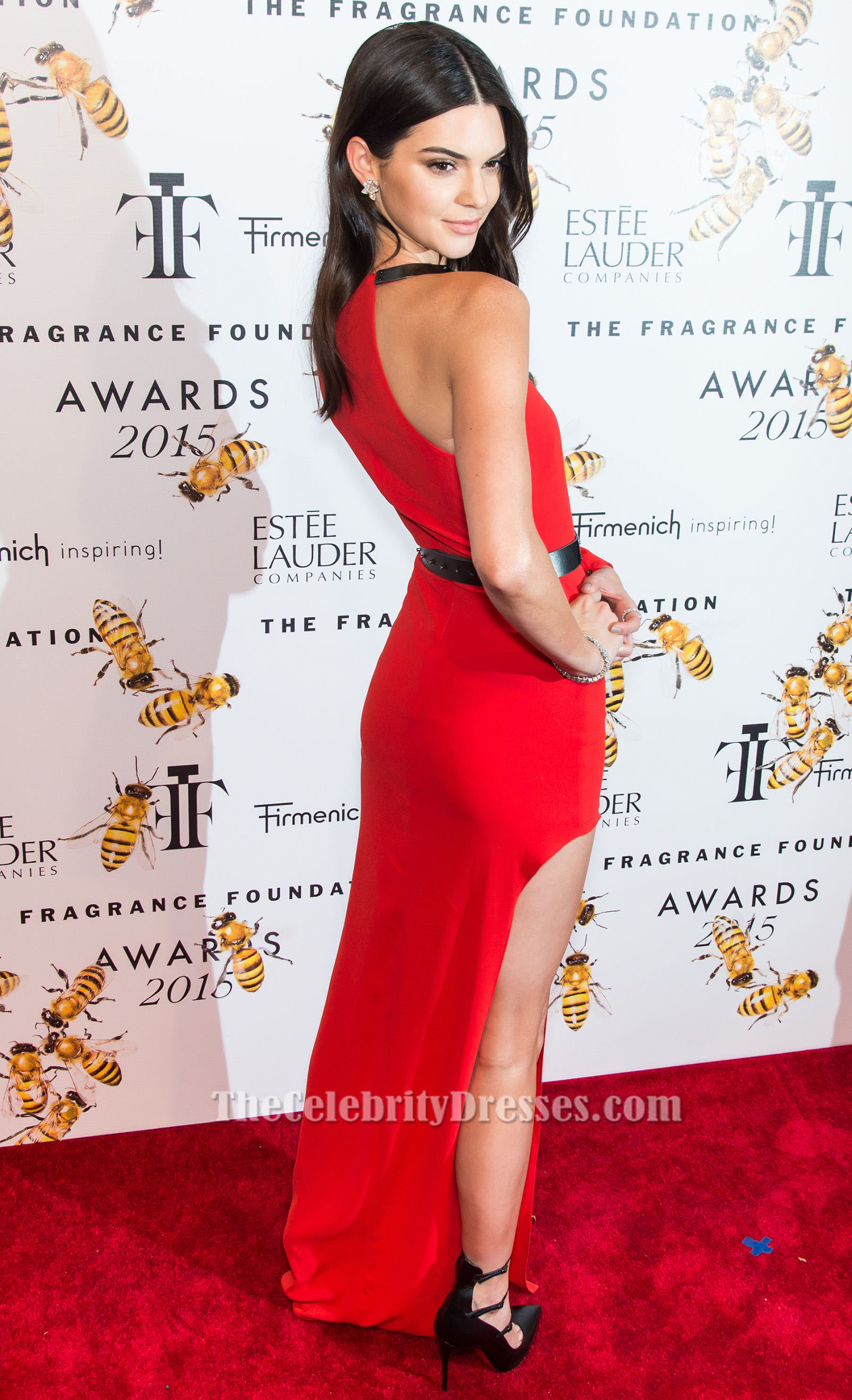 Kendall Jenner S One Sleeve Red High Slit Dress Fragrance