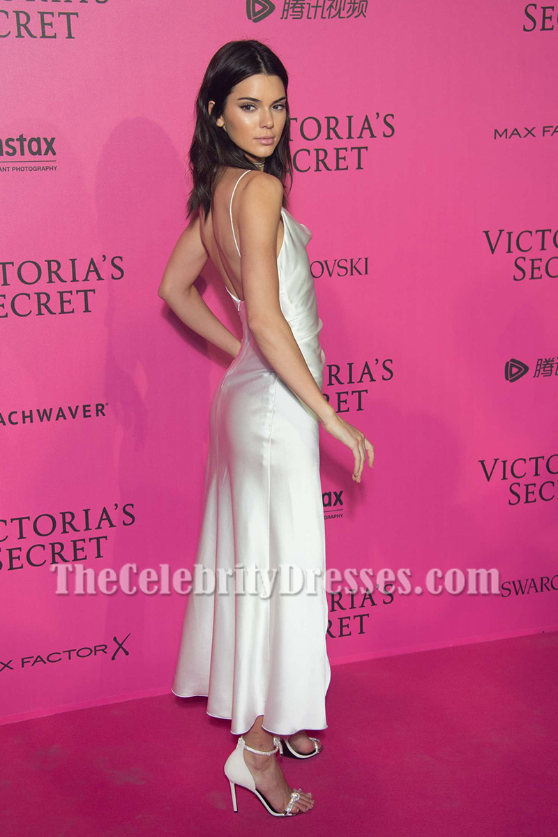 Kendall Jenner White Spaghetti Straps Party Dress Victoria S Secret Fashion Show 2016 After Thecelebritydresses