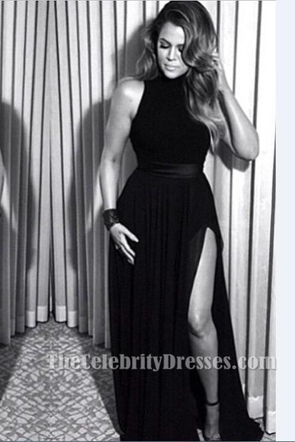 khloe kardashian black evening dress 72nd annual golden
