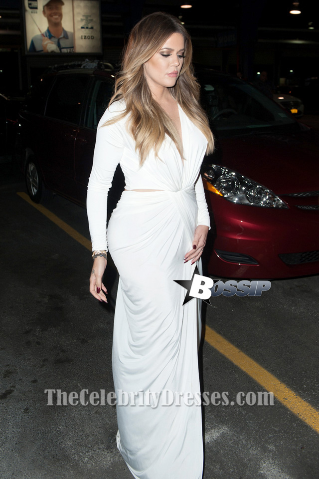 Khloe Kardashian Sexy Cut Out Long Sleeve Evening Dress