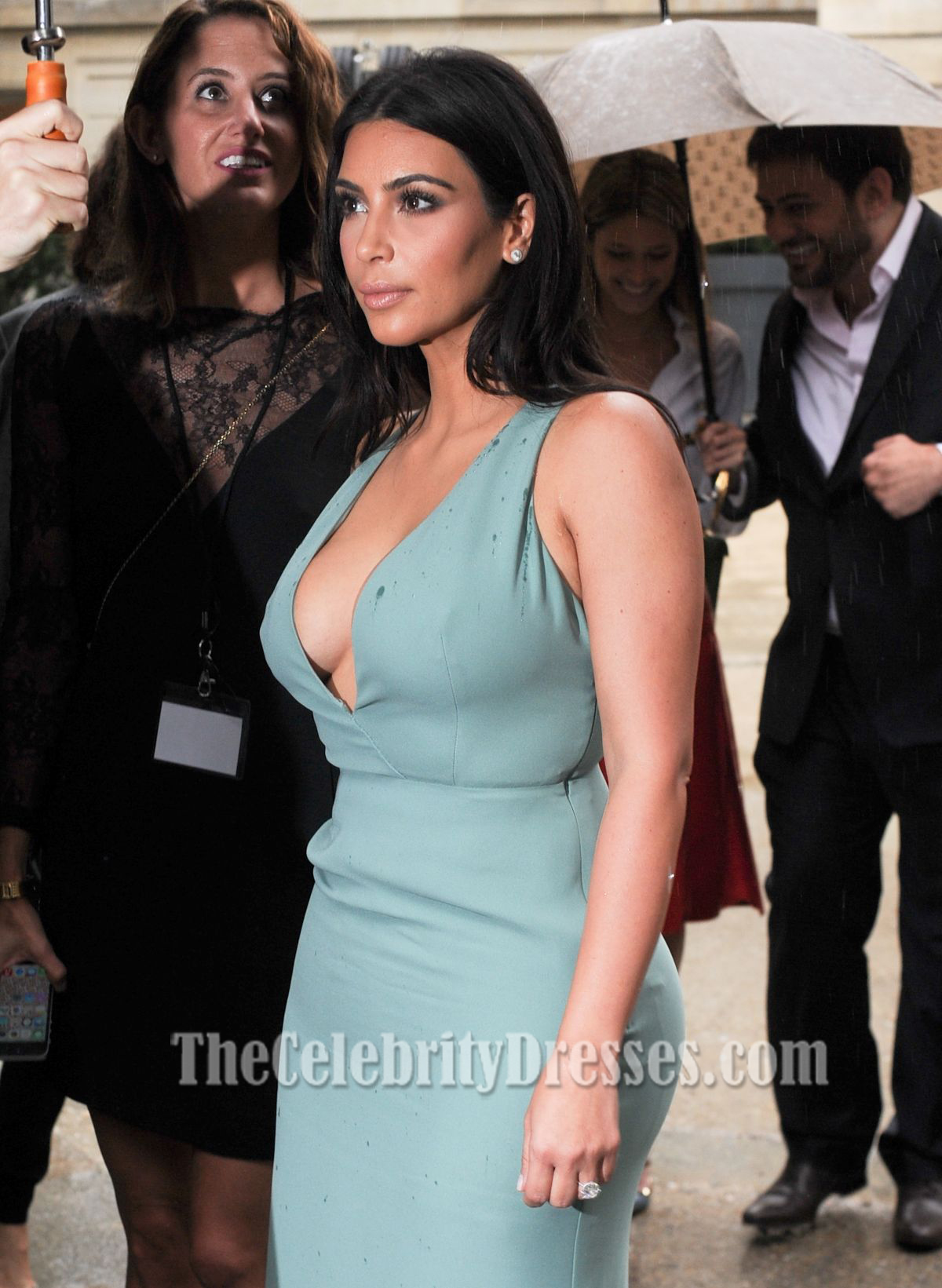 Kim Kardashian Sexy Deep V-Neck Floor Length Evening Dresses ...