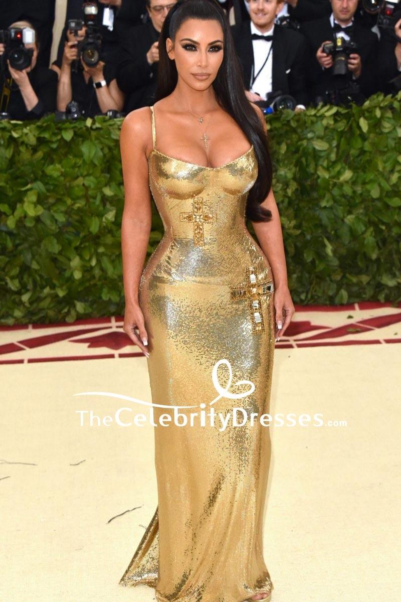 ac694e83a Kim Kardashian Gold Sequin Formal Dress 2018 Met Gala TCD8226