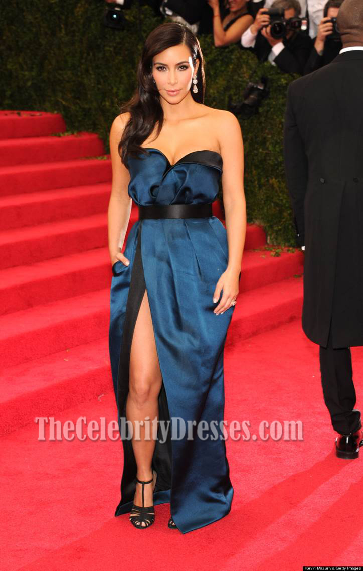 Kim Kardashian Blue And Black Prom Dress MET Gala 2014 Red Carpet ...