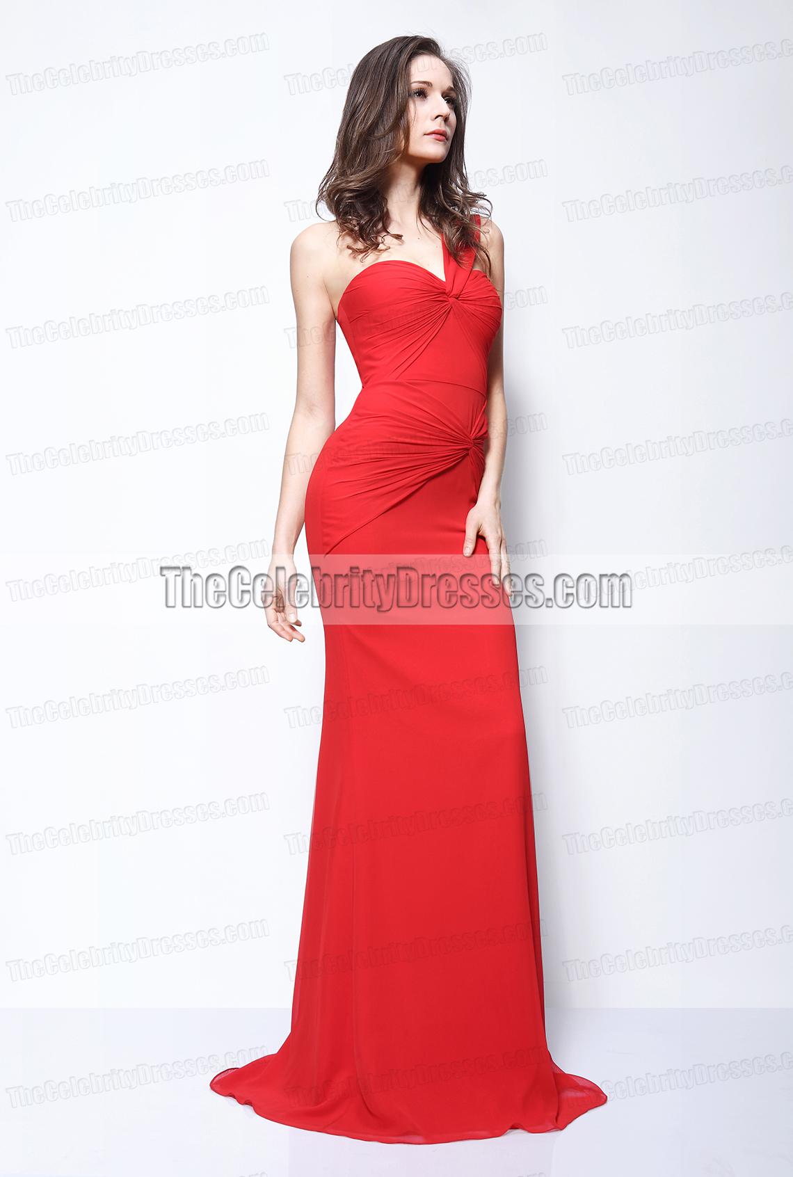 Kim kardashian red one shoulder prom gown evening dress red carpet thecelebritydresses - Designer dresses red carpet ...
