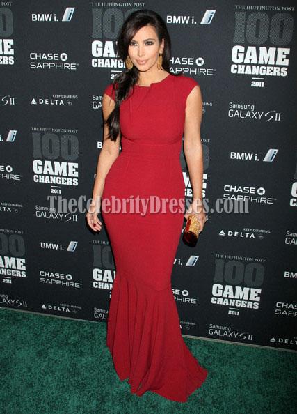 kim kardashian red prom gown formal dress game changers