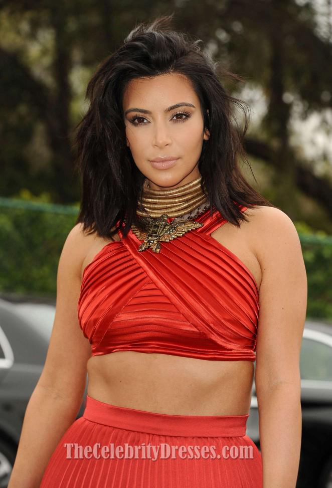 Kim k red dress oscars red