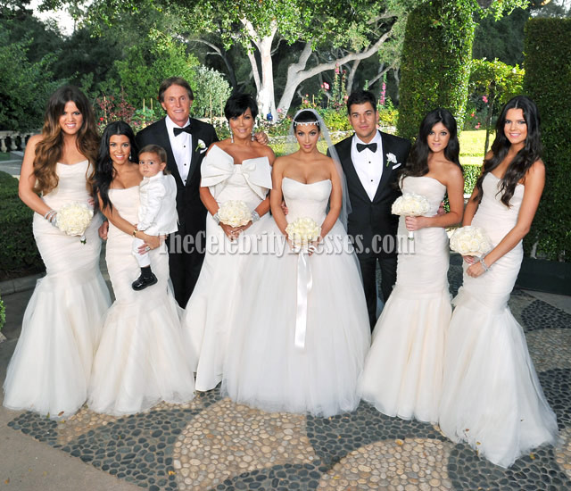 Celebrity Kim Kardashian Wedding White Mermaid Bridesmaid Dresses Thecelebritydresses