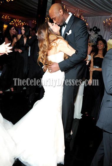 Beruhmtheit Kim Kardashian Hochzeit Weisse Meerjungfrau Brautjungfer Kleider