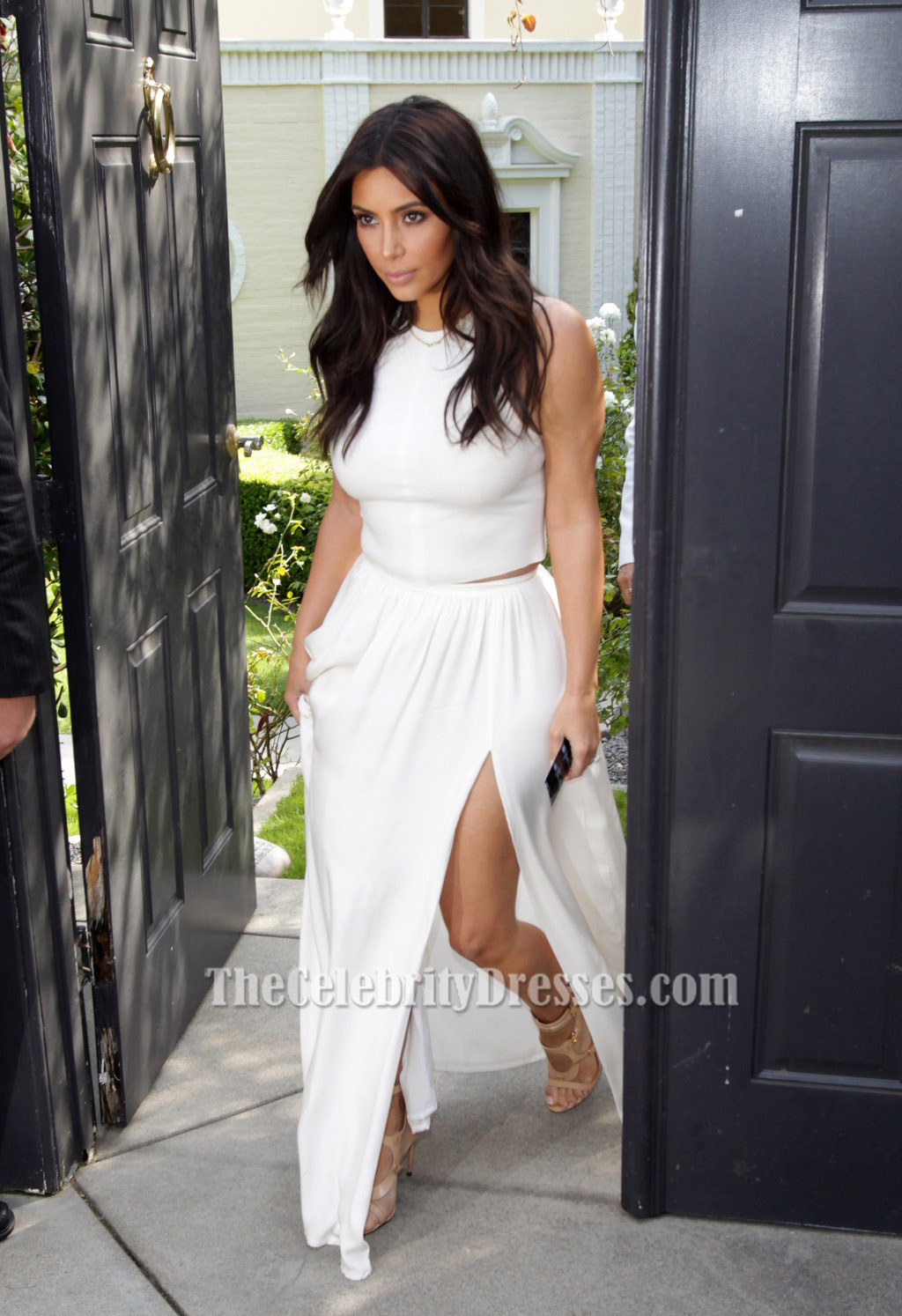 Kim Kardashian 'Ciara's Baby Shower Outift' White Two Pieces Dress ...