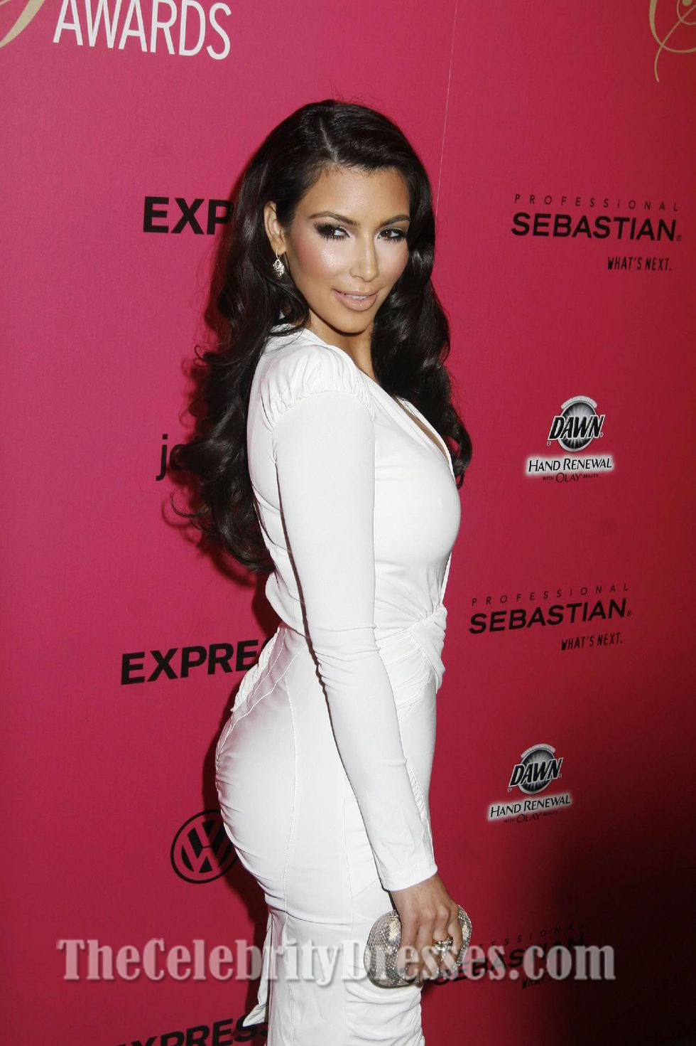 Kim Kardashian White Cocktail Dress Hollywood Style Awards ...