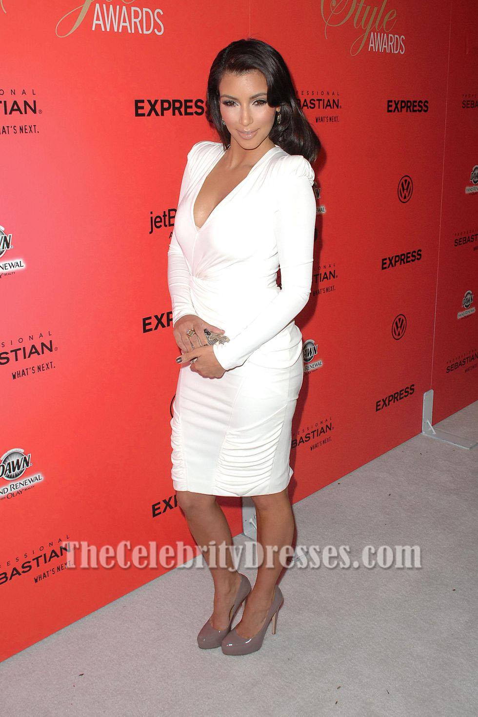Kim Kardashian White Cocktail Dress Hollywood Style Awards Red ...