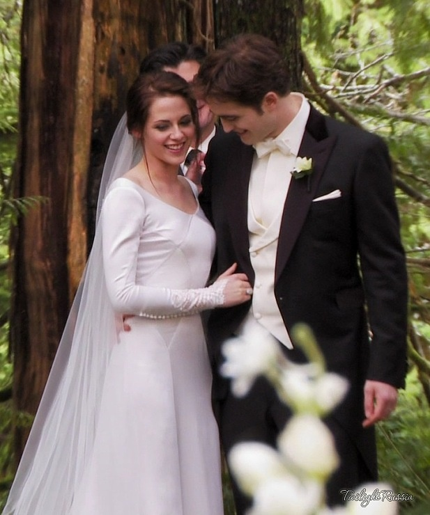 Kristen Stewart Long Sleeves Wedding Dress In Twilight