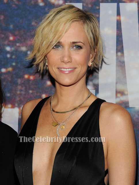 Kristen Wiig Sexy Deep V-Neck Evening Dress SNL 40th ...