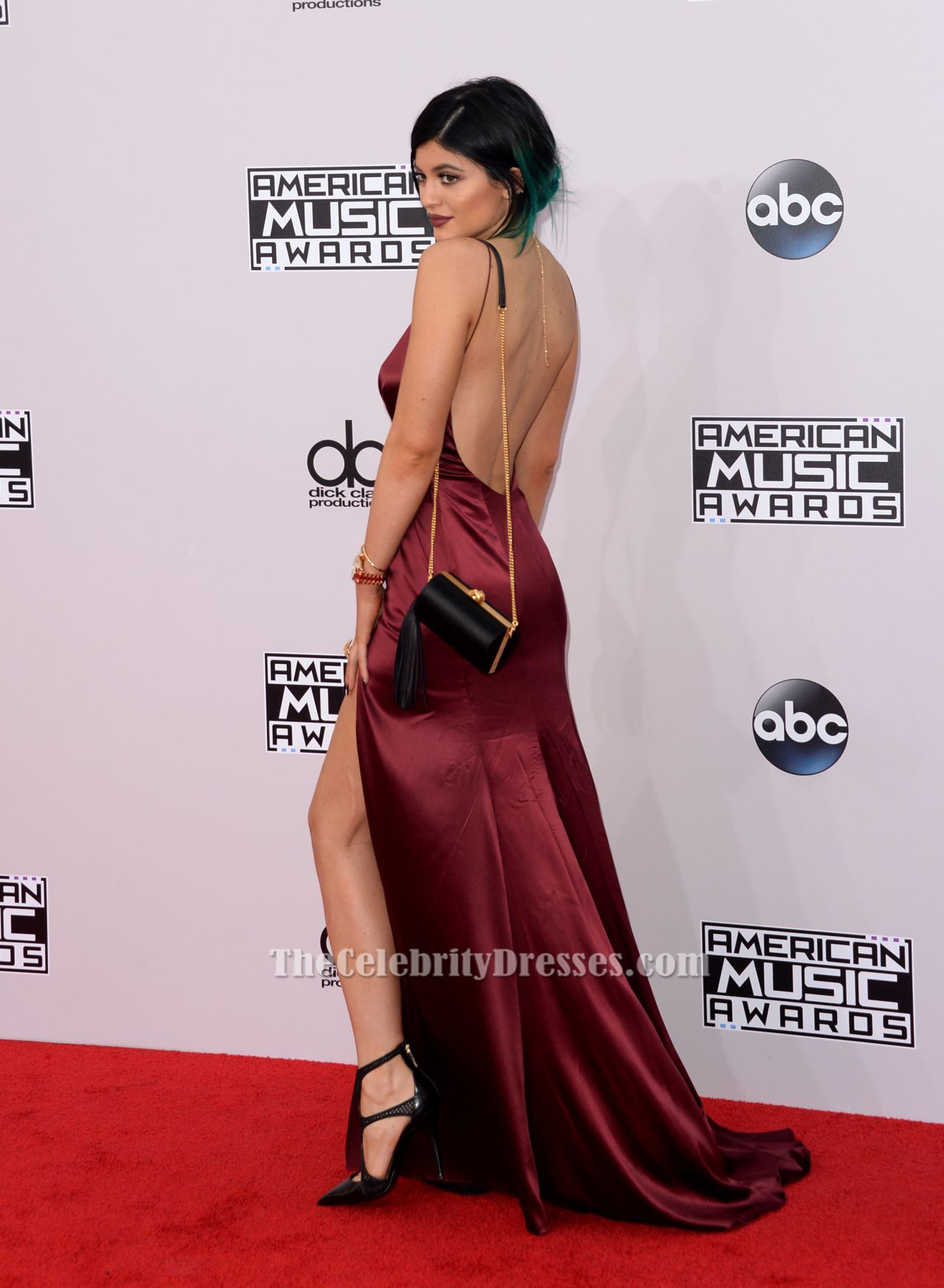 f6c9dad84cc Kylie Jenner Burgundy Evening Dress American Music Awards 2014 Red Carpet -  TheCelebrityDresses