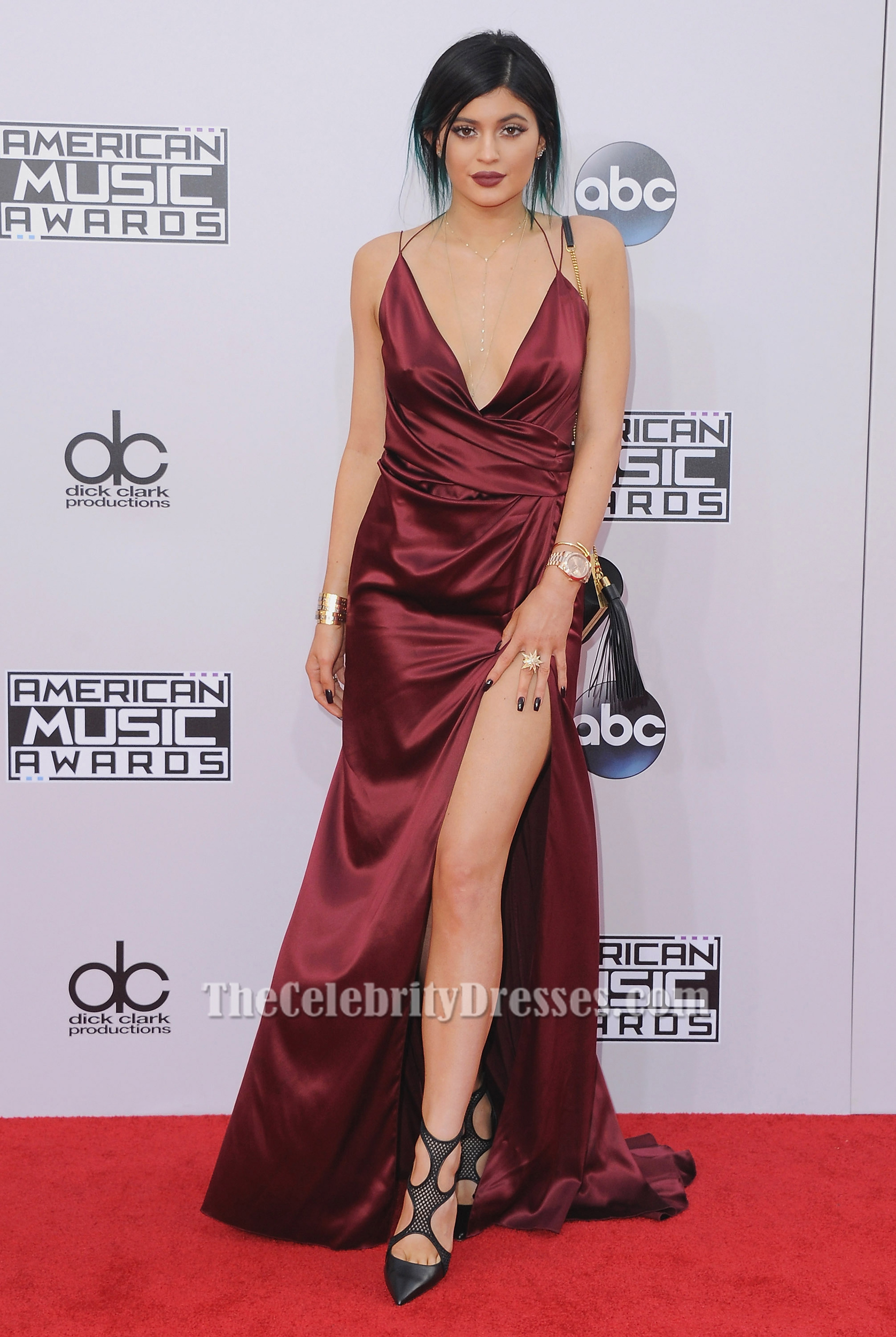 b73bad52546 Kylie Jenner American Music Awards 2014 Red Carpet Burgundy Evening Dress  For Less TS6032