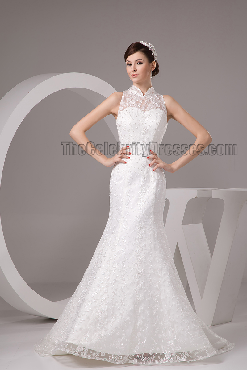 Lace High Neck Sweep Brush Train Wedding Dresses - TheCelebrityDresses