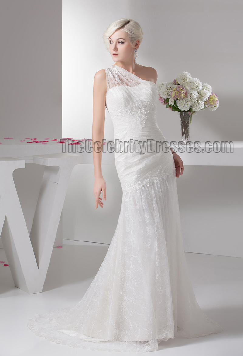 Lace one shoulder beaded sweep brush train wedding dresses for Lace one shoulder wedding dress