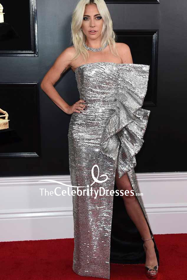 Lady Gaga Silver Strapless Ruffled Evening