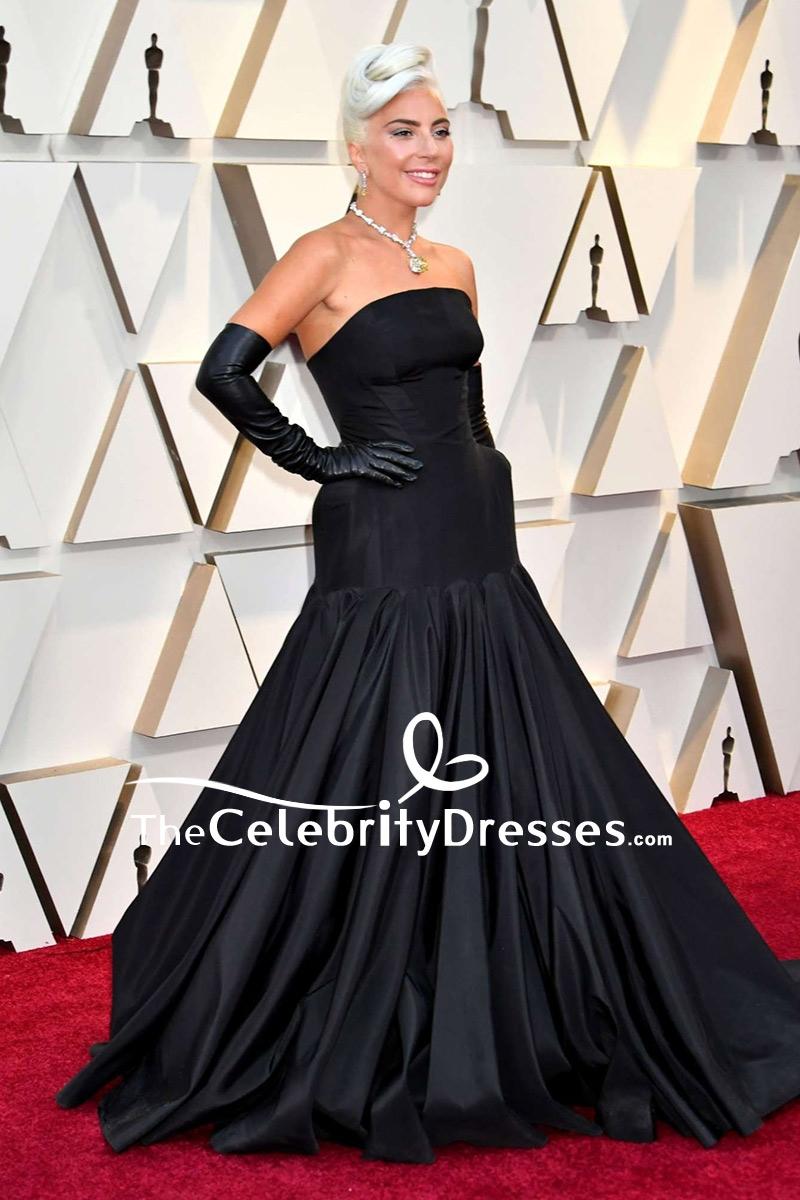 Lady Gaga Black Strapless Ball Gown 2019