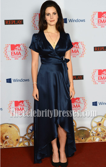 Lana Del Rey Dark Navy Evening Dress 2017 Europe Music Awards Red Carpet Thecelebritydresses