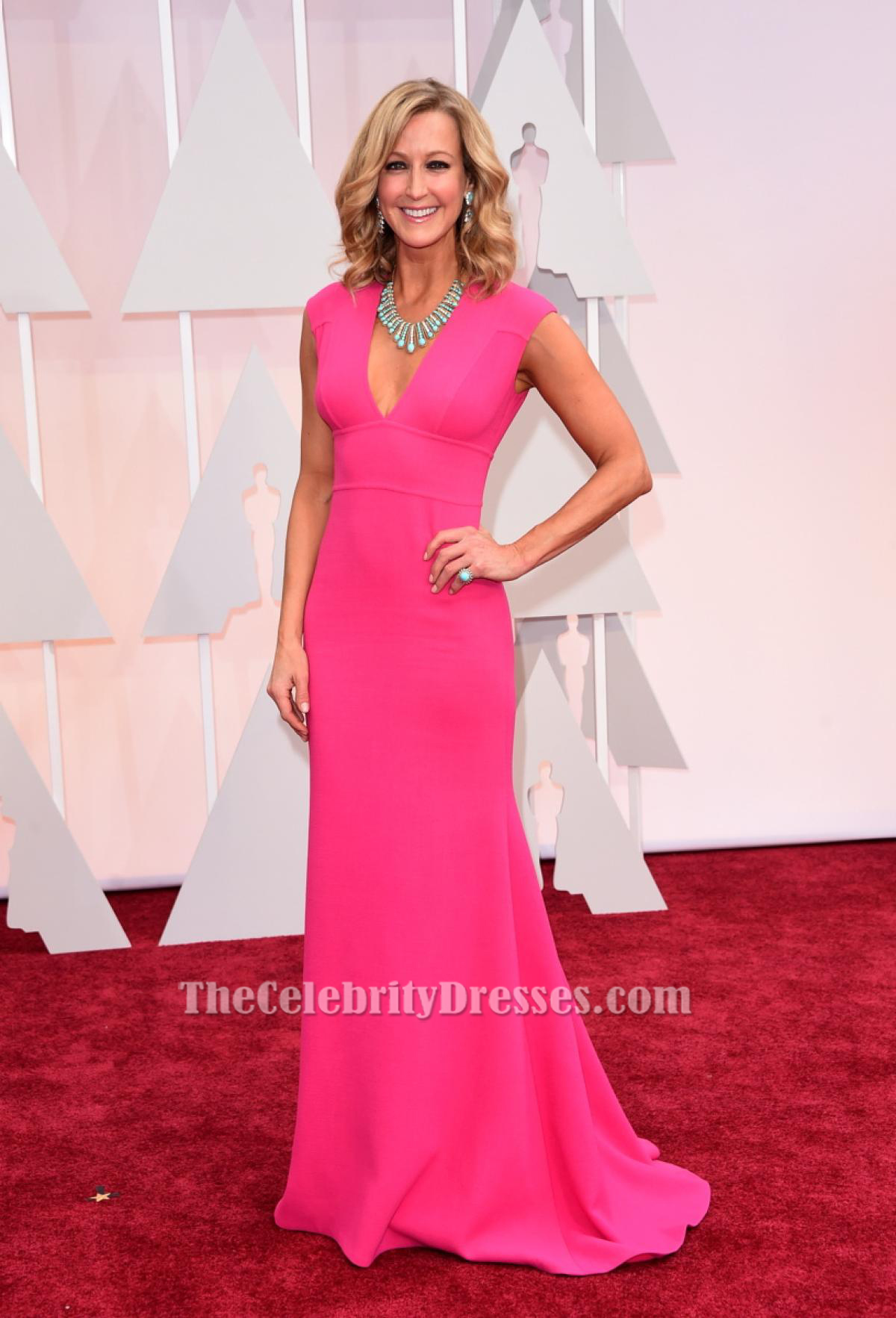Lara Spencer Hot Pink Formal Dress 2015 Oscars Red Carpet ...