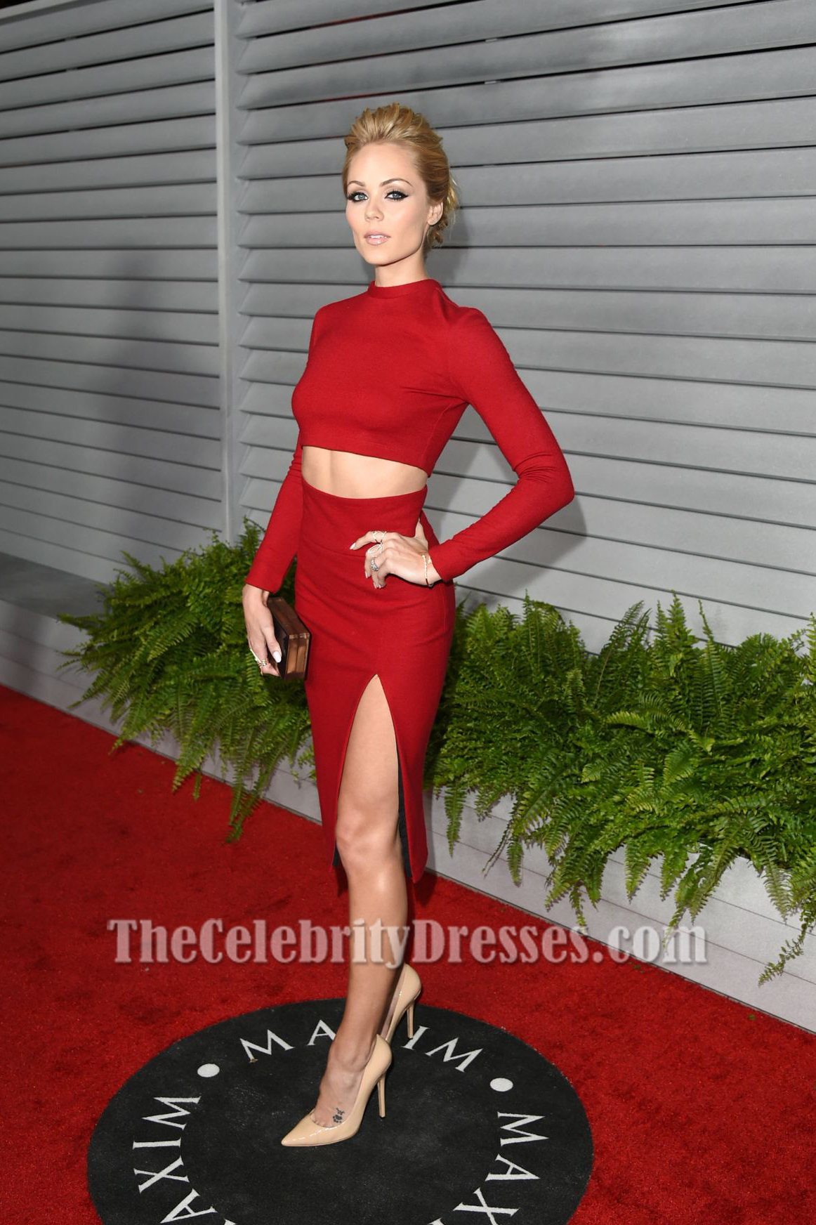 Laura Vandervoort Sexy Red Two Pieces Party Dress MAXIM Hot 100 Party - TheCelebrityDresses
