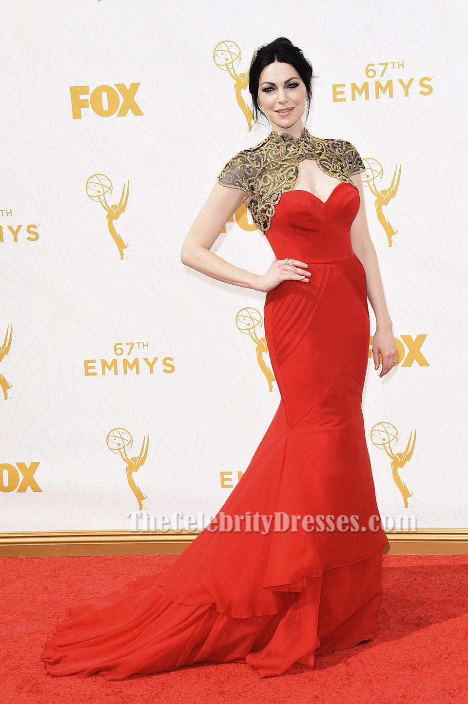 Laura Prepon Red Mermaid Strapless Formal Dress Emmy 2015