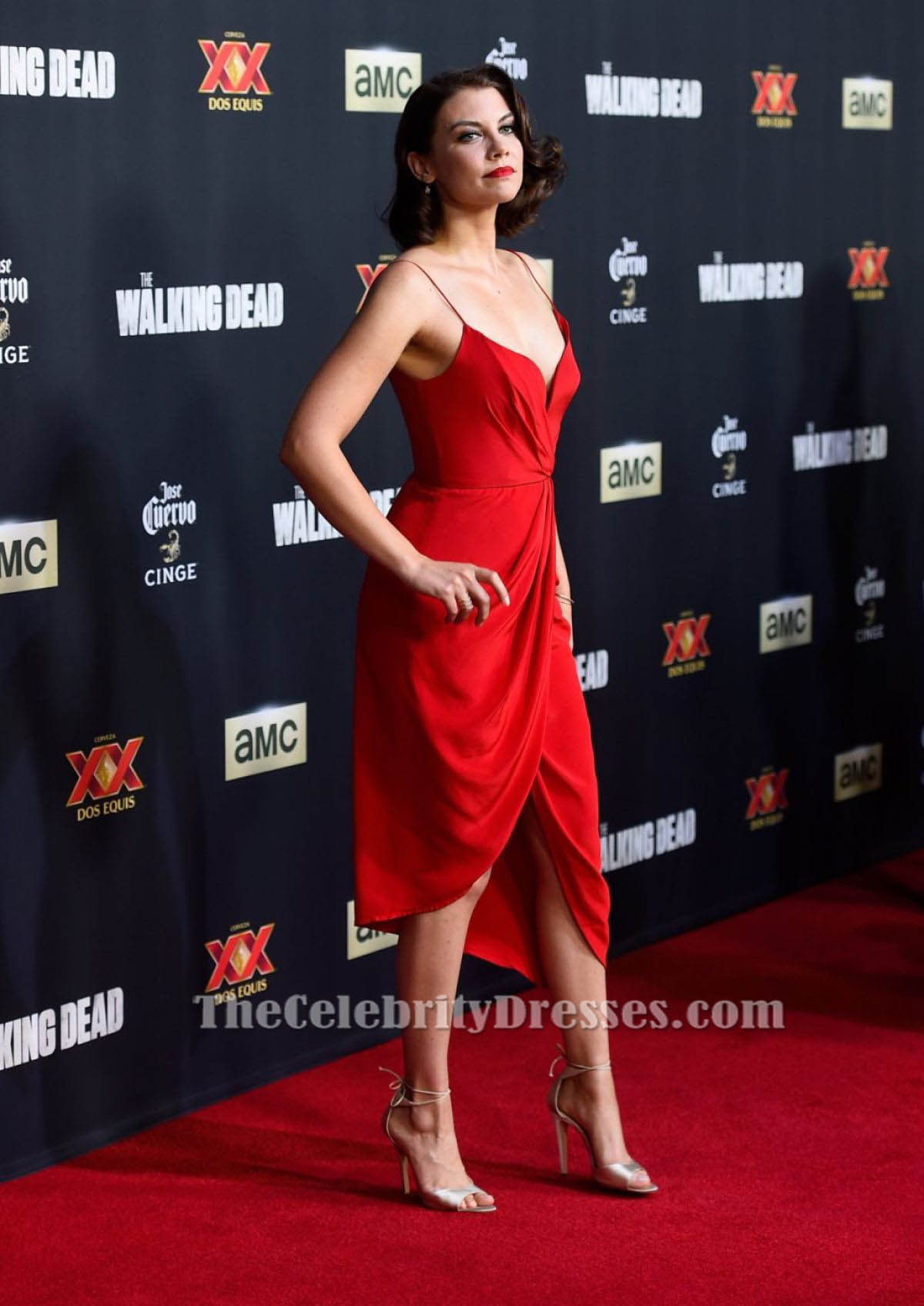 Lauren Cohan Red Cocktail Dress Walking Dead Season 5
