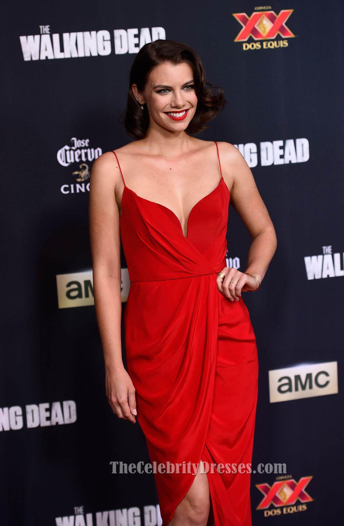 Lauren Cohan Red Tail Dress Walking Dead Season 5 Premiere Thecelebritydresses