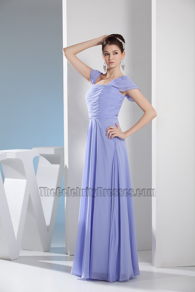 Lavender Cap Sleeves Bridesmaid Prom Dresses Evening Gown ...